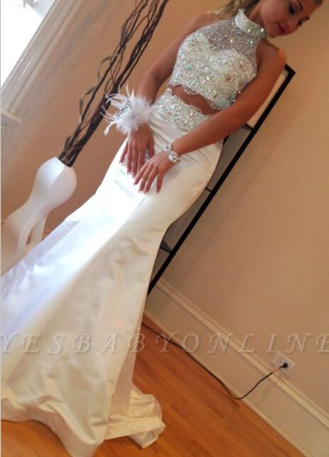 Gorgeous Crystals Zipper Mermaid Sleeveless High-Neck Two-Piece Sweep-Train Prom Dress