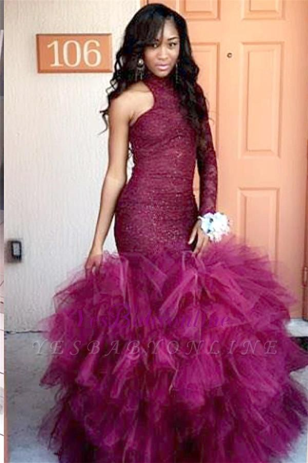 One-Sleeve Lace Specail Sheath Tulle Latest High-Neck Puffy Prom Dress