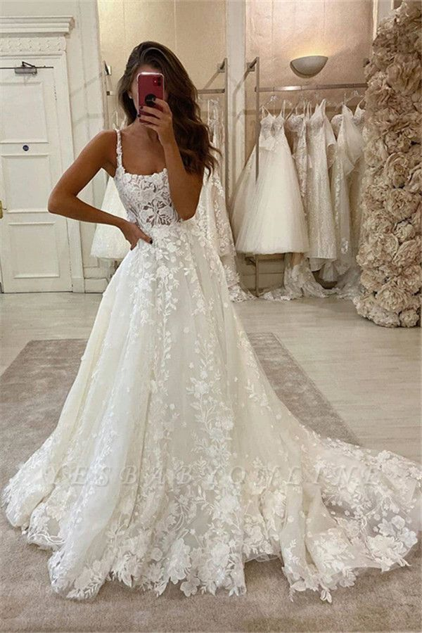 Sexy Spaghetti Strap Lace A Line Floor Length Wedding Dresses