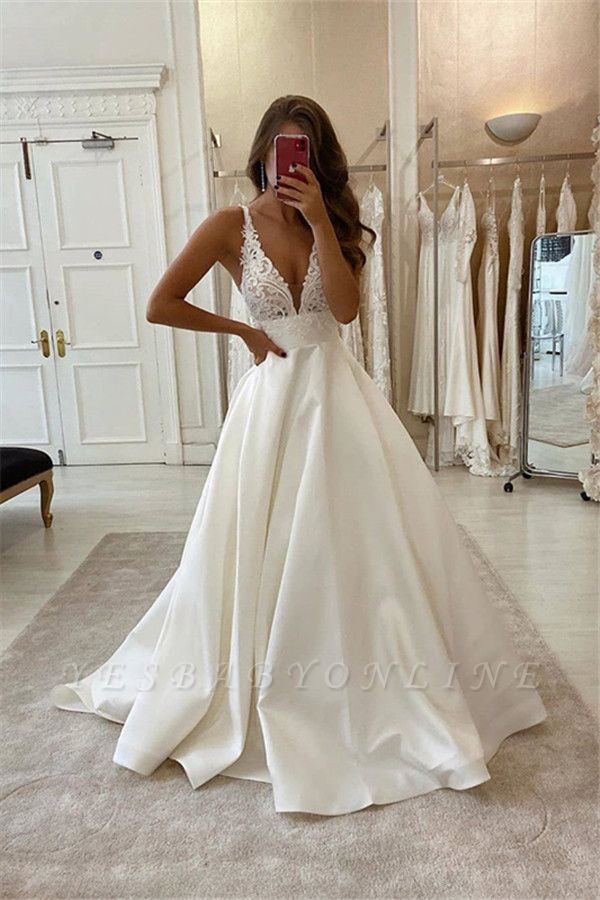 Sexy Straps Deep V Neck Backless Lace A Line Wedding Dresses