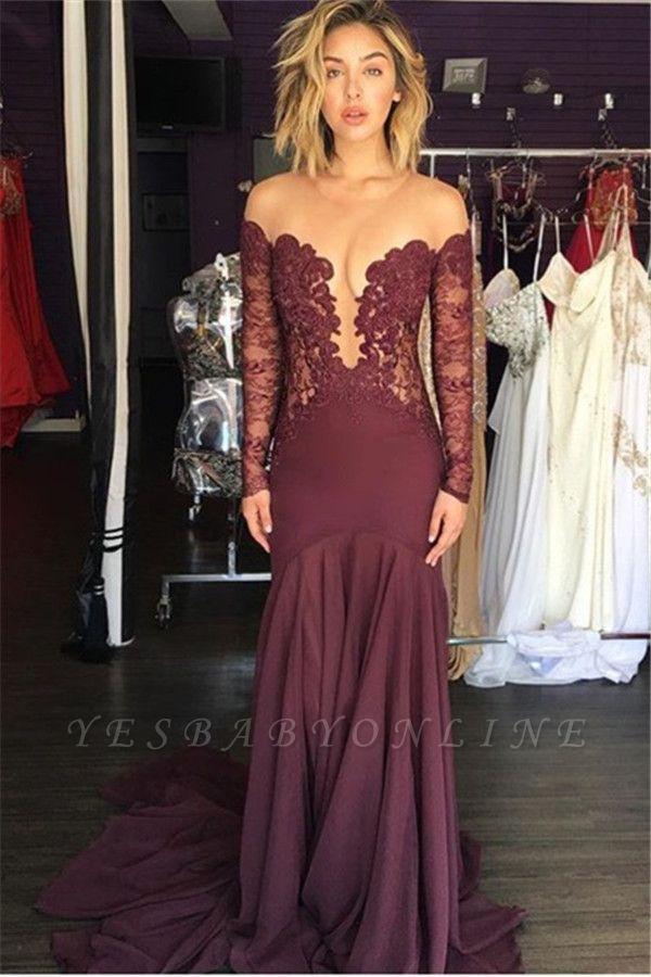 Burgundy Lace Scoop Tulle Elegant Chiffon Sheer Long-Sleeve Evening Dress