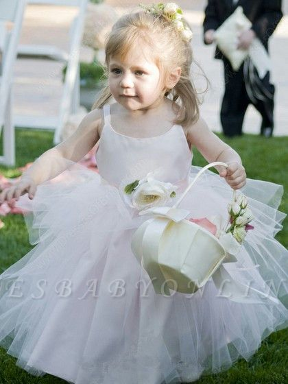 Sleeveless  Straps Cute Long Flower-Girl Dress