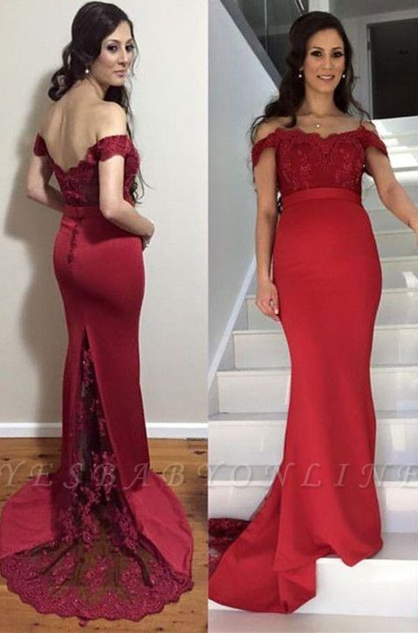 Sweep-Train Maternity Mermaid Newest Lace Zipper Off-the-shoulder Prom Dress