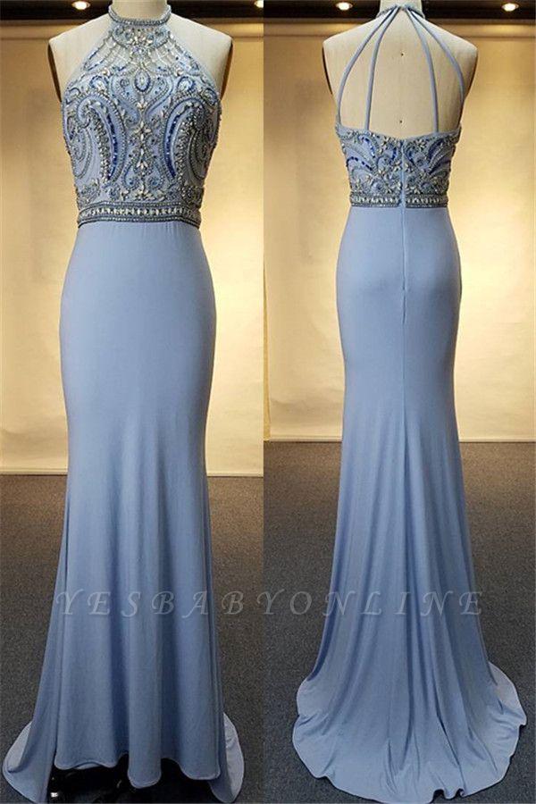 Crystal Sweep-Train Open-Back Blue Halter Sheath Evenig Dresses
