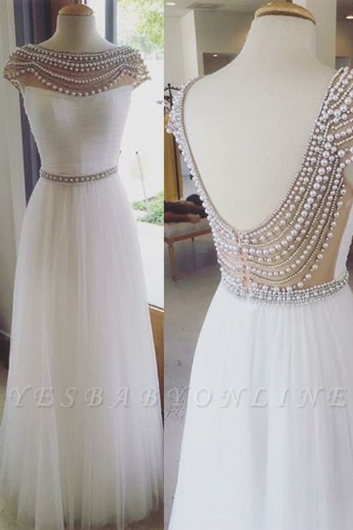 Beadings Back Open Long Luxury Capped-Sleeves Prom Dresses