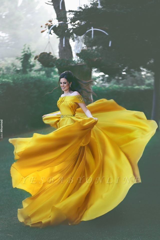 Glamorous Yellow Prom Dresses Ruffles Off-the-Shoulder Beadings A-Line Evening Gowns