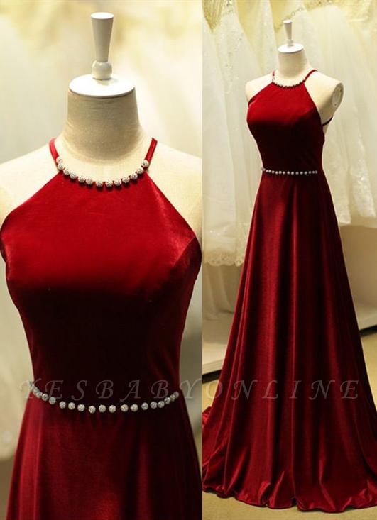 Halter Neck Long Prom Dresses Dark Red Sleeveless Beadings Elegant Evening Dress