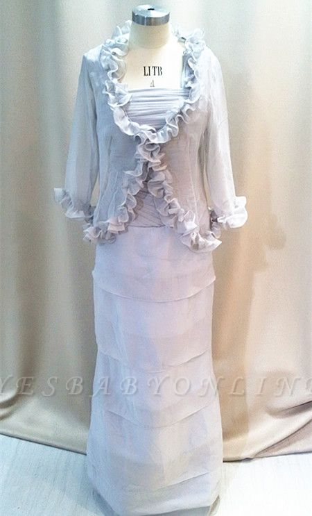 Elegant Tiered Silver Grey Chiffon Long Mother of the Bride Dresses with Jacket Custom Plus Size Mother Dress