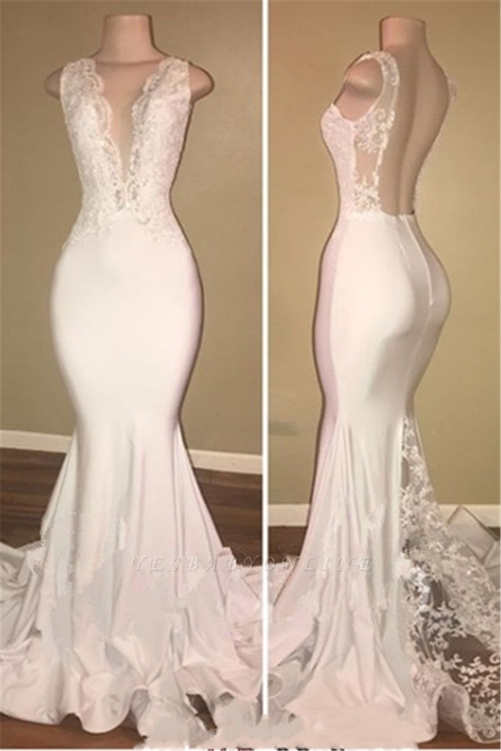 Elegant Sleeveless Long Lace Prom Dresses | V-neck Backless Mermaid Evening Gowns