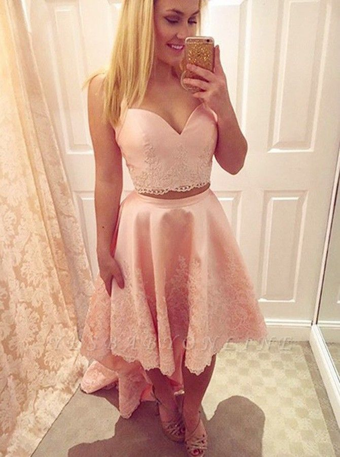 Chic Hi-Lo Pink Homecoming Dresses | Two Pieces Appliques Cocktail Dresses