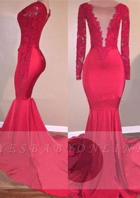 Mermaid Sexy Red Long-Sleeve Lace-Appliques Prom Dress