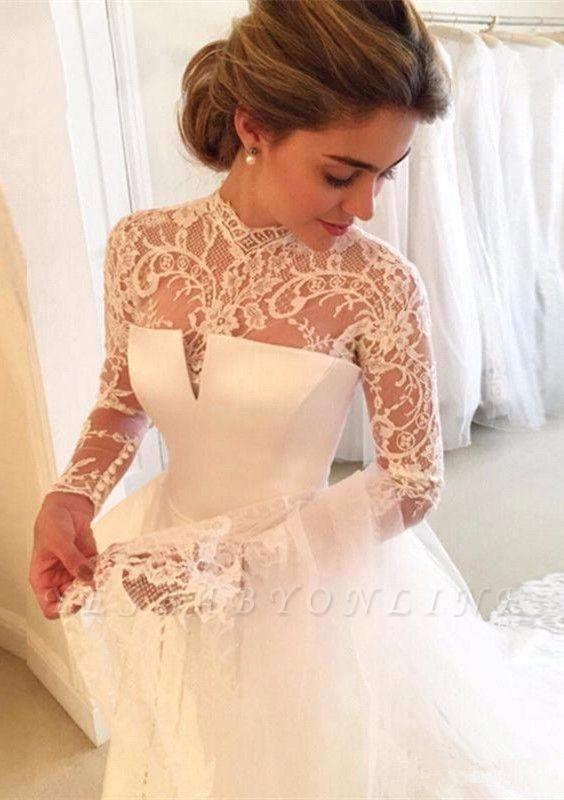 A-line Lace  High-Neck Zipper  Long Sleeves Glamorous Wedding Dress
