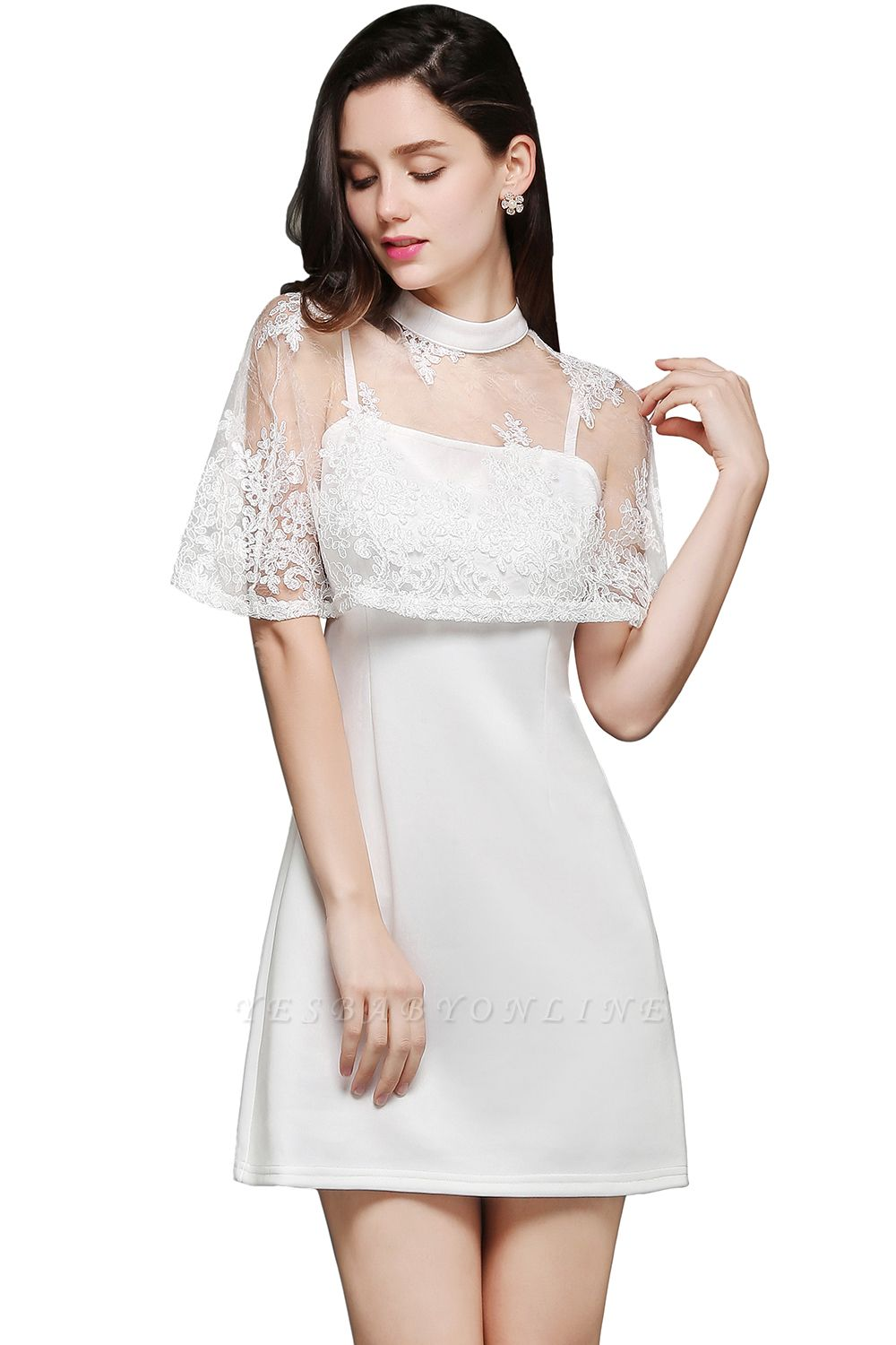 White Cute Two-Piece High-Neck Short Evening Dresses