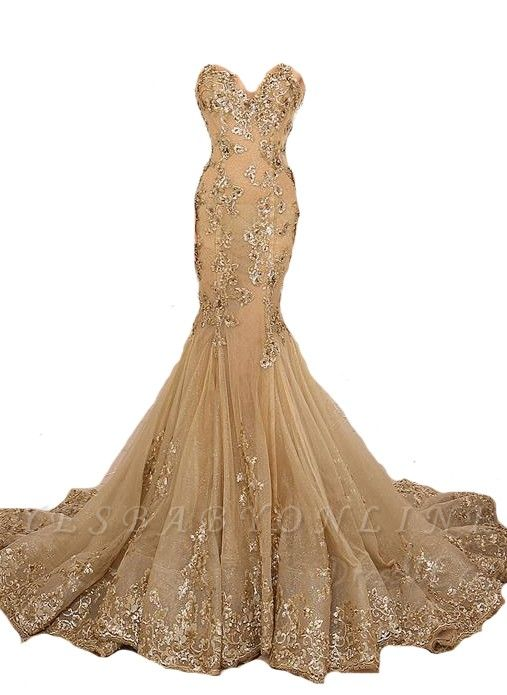 Long Sweetheart-Neck Lace-Appliques Gold Lace-Up Mermaid Prom Dresses