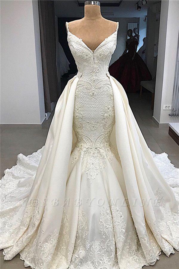 Spaghetti Straps V-neck Sexy Mermaid Detachable Skirt Wedding Dresses