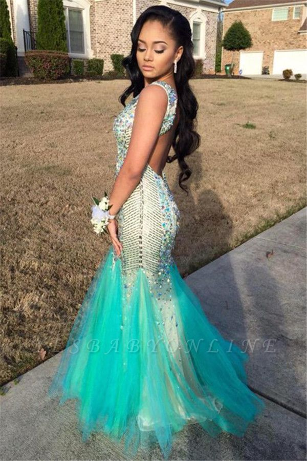 Sparkly Sequins Mermaid Beaded Backless Jewel Gorgeous Tulle Sleeveless Prom Dress