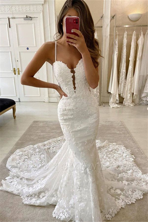 Amazing Spaghetti Strap Sweetheart Lace Mermaid Fitted Wedding Dresses