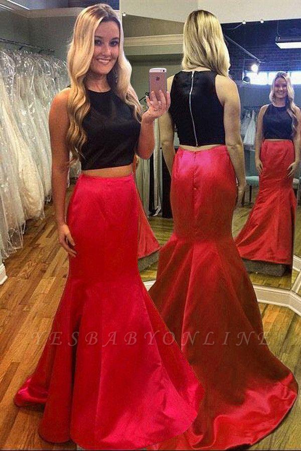 Black & Red Two-Piece Prom Dress Mermaid Sleeveless Gorgeous Evening Dress