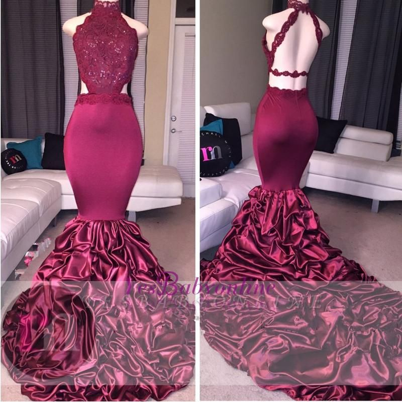 Lace Newest High-Neck Mermaid Open-Back Beadings Prom Dress