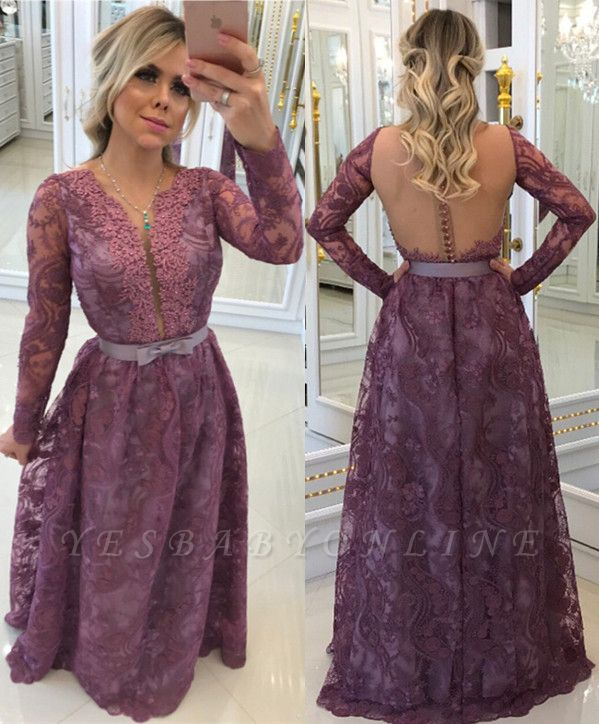 Buttons Glamorous A-Line Lace Long-Sleeves Evening Dresses