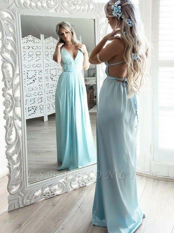 Chic V-Neck Straps Evening Dresses | A-Line Lace-up Prom Dresses