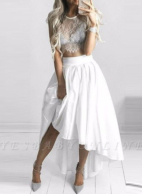 Hi-Lo Two-Piece White Lace Sexy Capped-Sleeves Prom Dresses