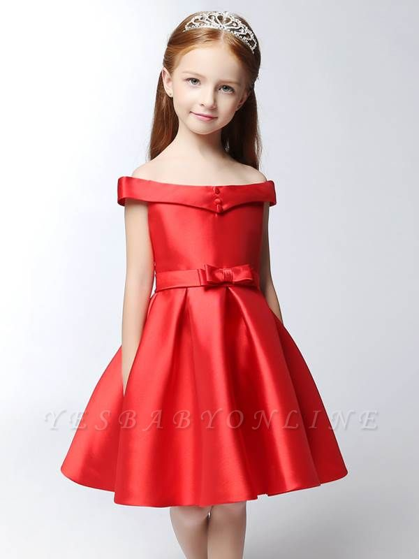 Cute A-Line Matte Satin Off-The-Shoulder Knee-Length Flower Girl Dress with Bowknot