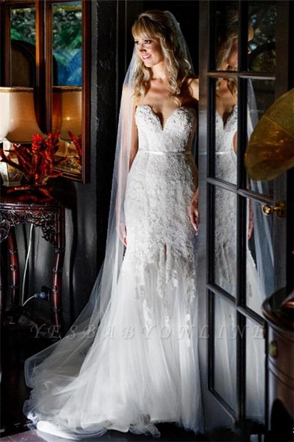 Tulle Form Fitting Sleeveless Lace Appliques Open-Back Front-Slit Sweetheart Wedding Dress