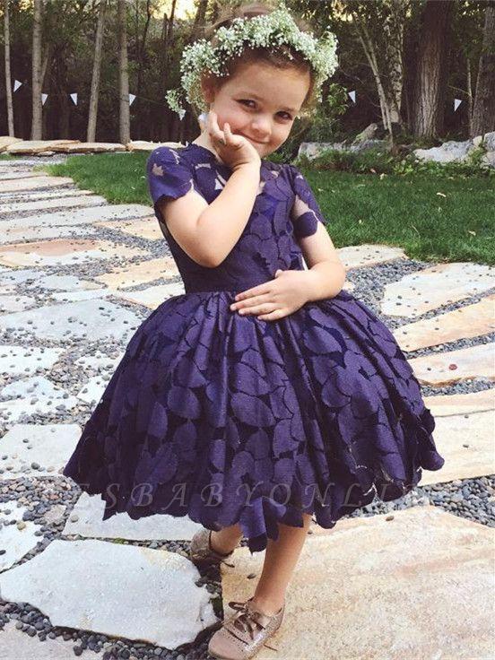 Short-Sleeve Jewel Newest Lace Knee-Length Flower-Girl Dress