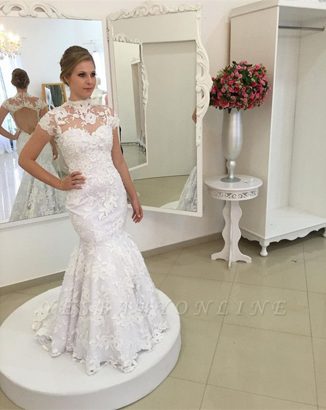 White Appliques Newest Lace Zipper High-Neck Pearls Mermaid Wedding Dress