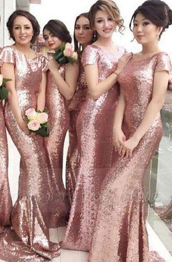 Sequined Mermaid Gorgeous Short-sleeve Jewel Pink Bridesmaid Dress