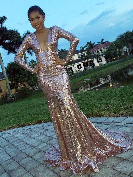 Long-Sleeve Mermaid V-Neck Glamorous Sequins Evening Dress