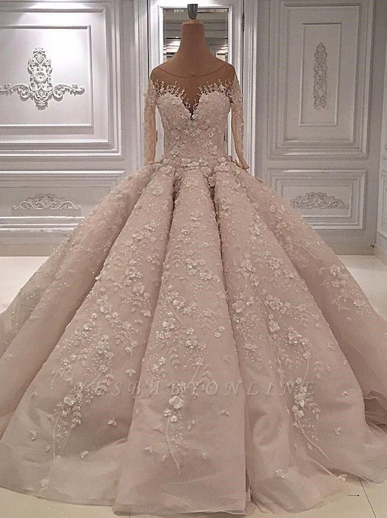Scoop Luxury Appliques Ball Gown Wedding Dresses with Long Sleeves