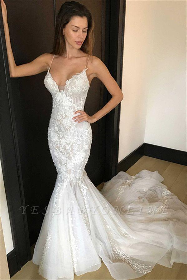 Glamorous Lace Appliques Sexy Mermaid Spaghetti Straps Wedding Dresses
