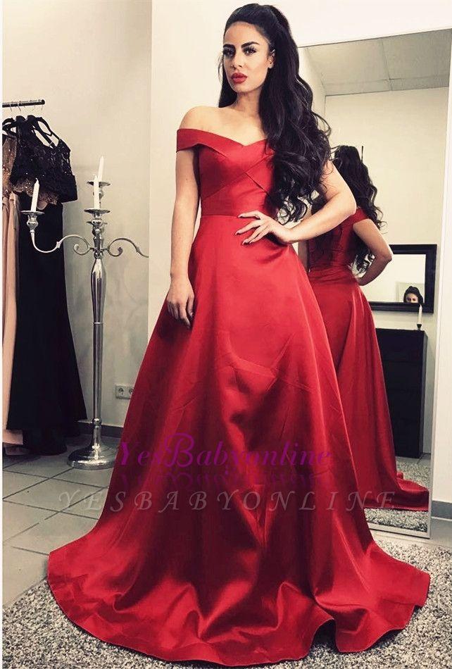 Off-The-Shoulder Burgundy A-Line Sweep-Train Elegant Short-Sleeves Prom Dresses