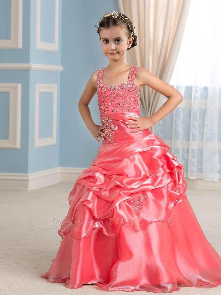 Cute Ball Gown Organza Straps Appliques Floor-Length Flower Girl Dress