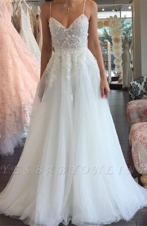 A-line Lace Romantic Spaghetti-Strap Sleeveless Tulle Wedding Dress