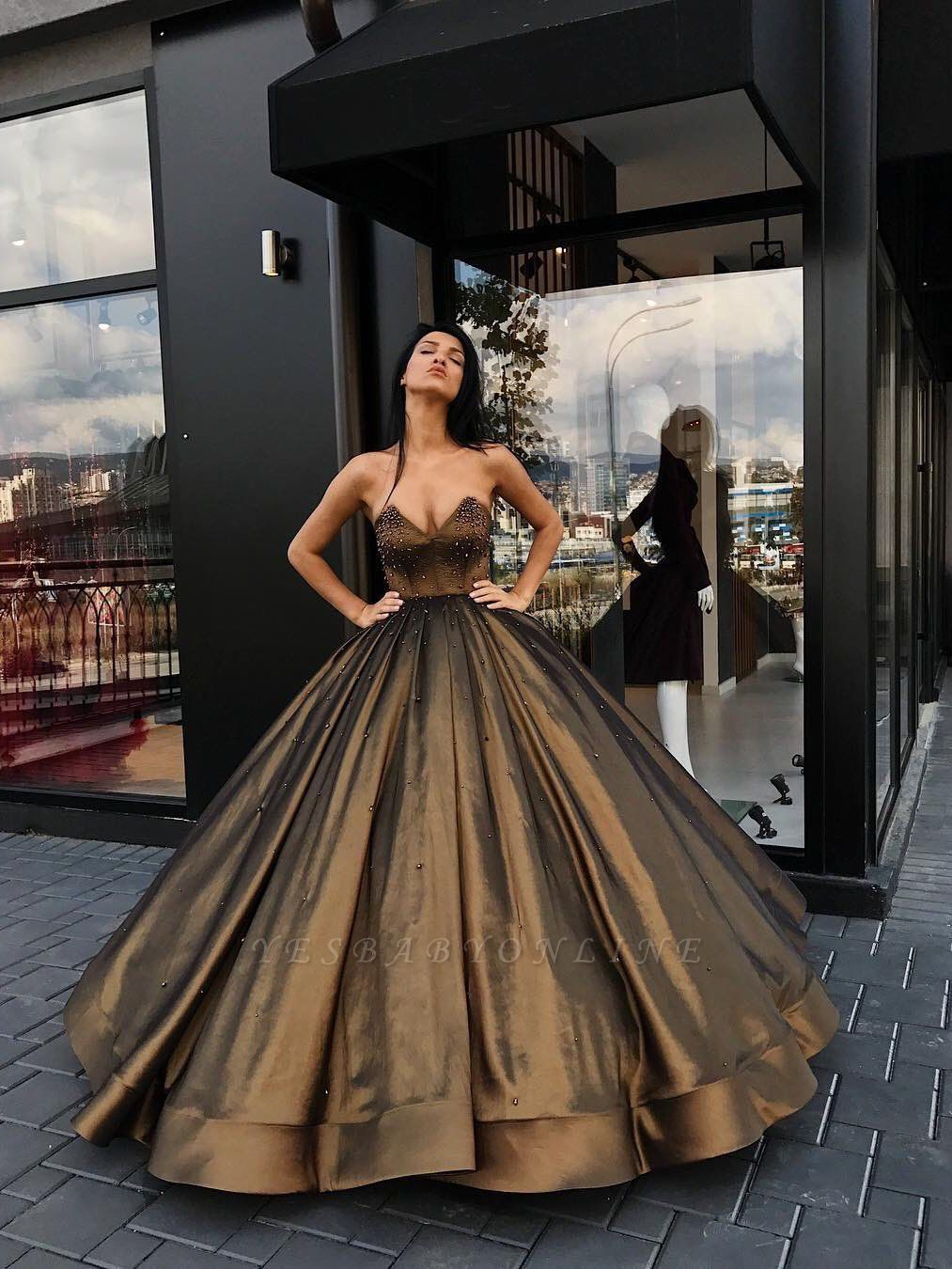 Beaded Sweetheart Sleeveless Luxury Ball-Gown Prom Dresses