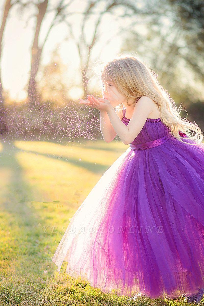 Cheap Tulle Floor Length Purple Strapless Flower Girl Dresses