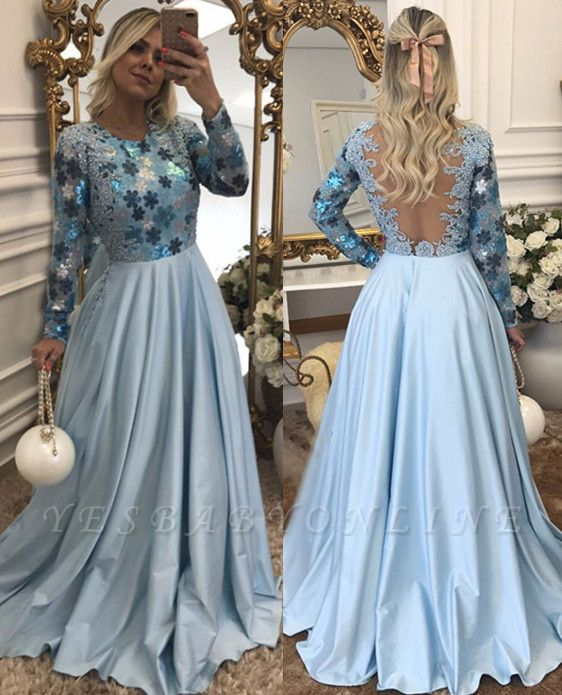 Lace Scoop Beaded A-Line Long-Sleeves Blue Evening Dress
