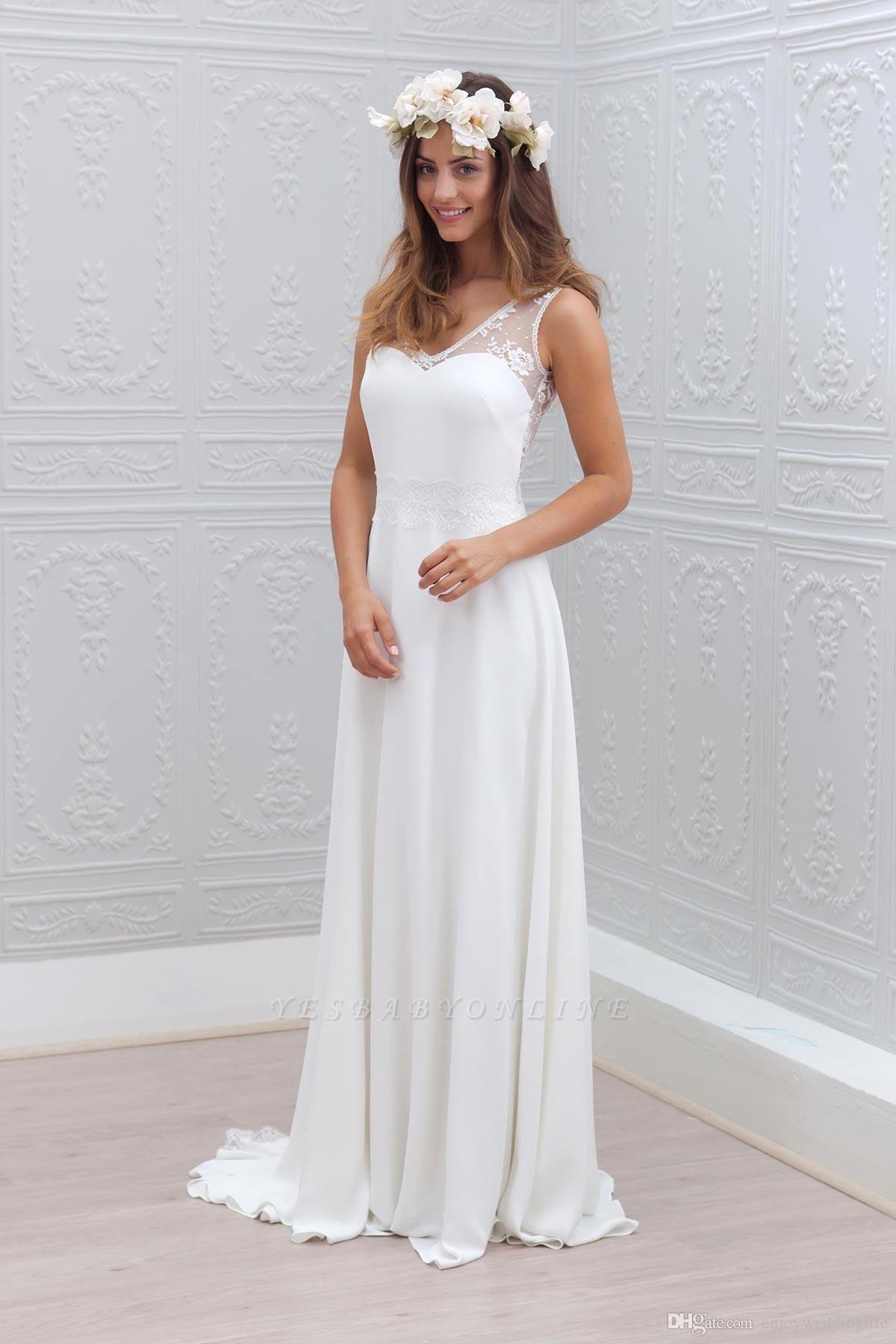 Bowknot Lace Sleeveless V-Neck Chiffon Glamorous White Wedding Dress