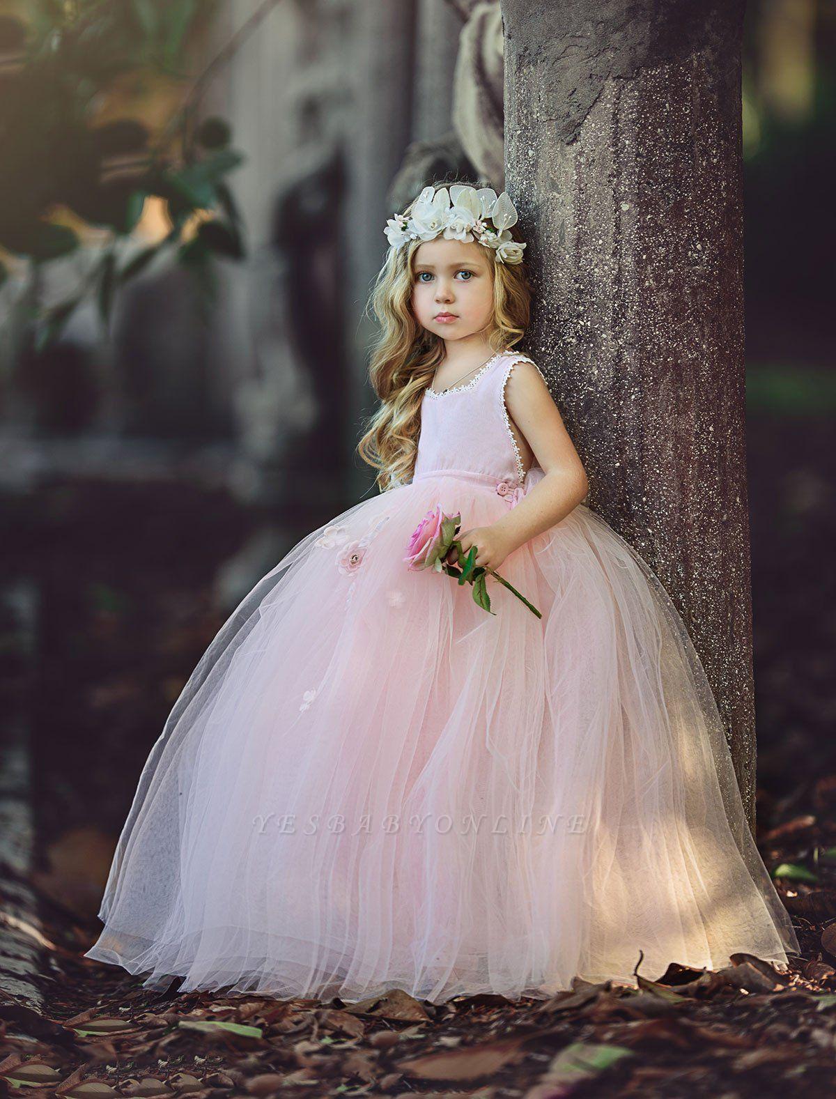 Flower Ball-Gown Pink Long Cute Girl Dresses