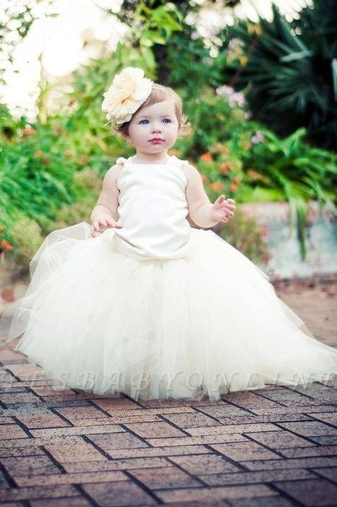 Pearls Flower Tull Sleeveless Ball-Gown Scoop Girl Dresses