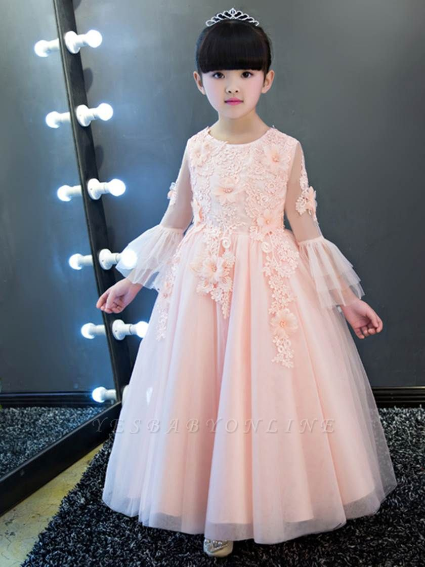 Cute A-Line Tulle Lace Long Sleeves Appliques Flower Girl Dress
