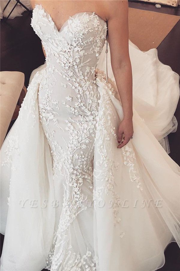 Sexy Sweetheart Lace Detachable skirt Mermaid Wedding Dresses