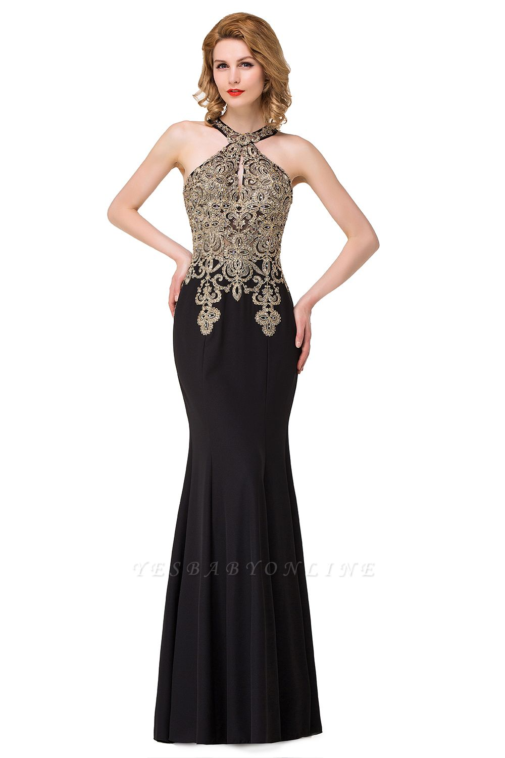 Sleeveless Halter Appliques Black Crystal Mermaid Sexy Prom Dress