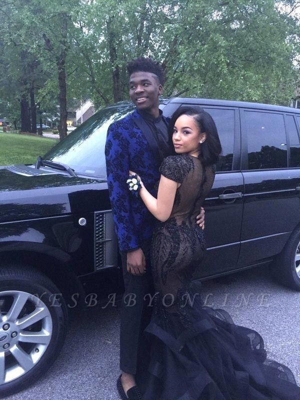 Beadings Sexy Appliques Mermaid Tulle Black Short-Sleeves Prom Dress