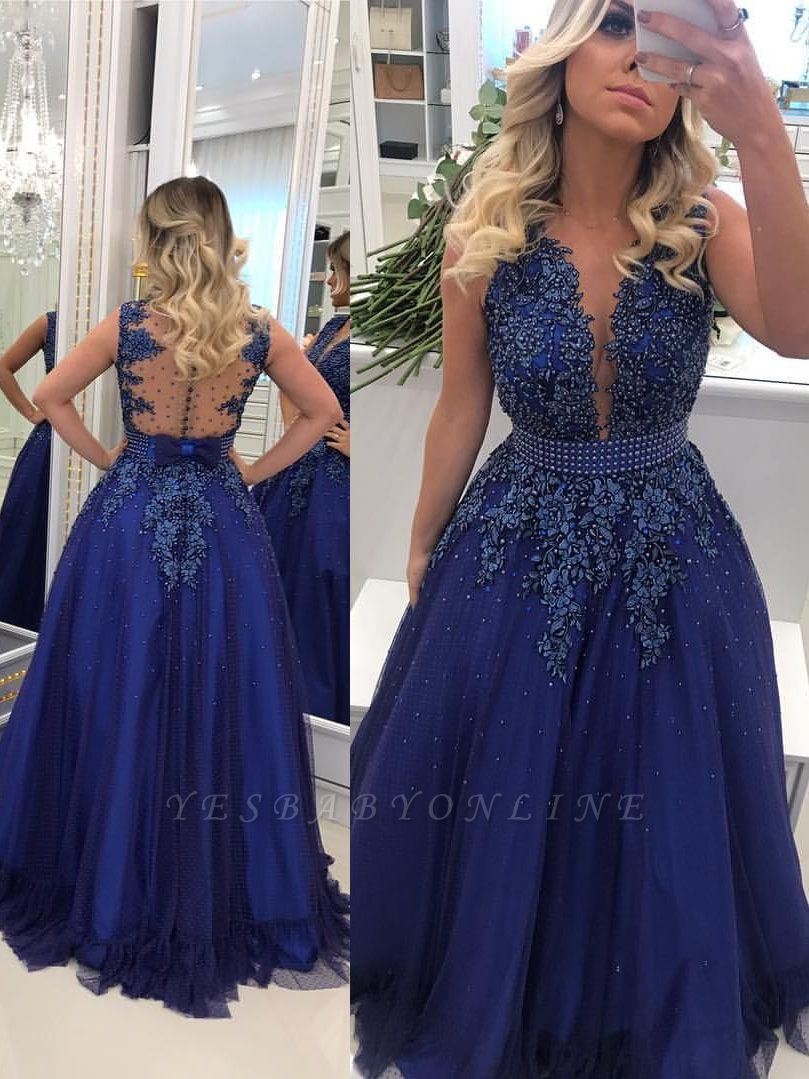 V-Neck Pearls Glamorous Lace A-Line Prom Dresses