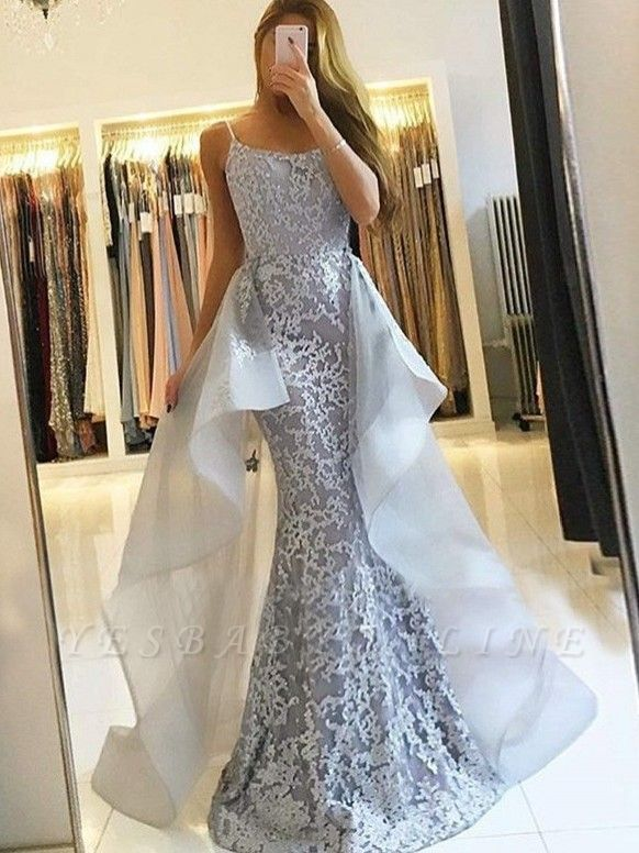 Elegant Straps Evening Dresses with Overskirt | Mermaid Sleeveless Prom Dresses