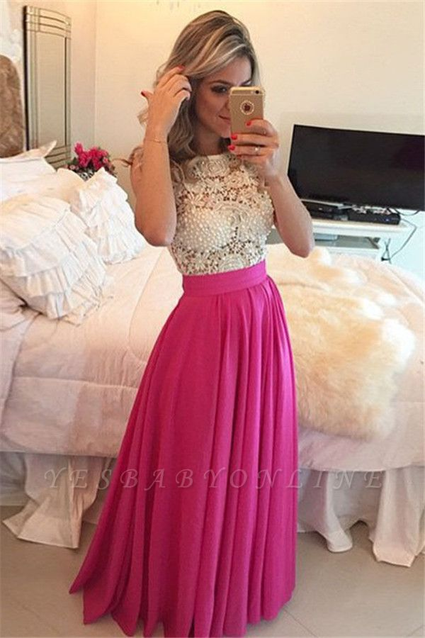 Fuchsia A-line Prom Dress Pearls  Floor Length A-line Evening Gowns